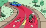 Illustration of a dog and elderly woman crossing a street
