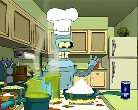 Futurama's Bender whips up a meal