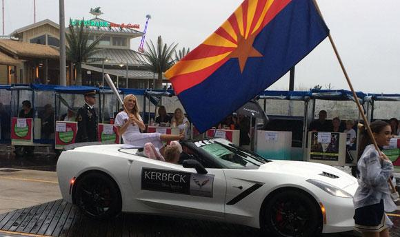 Miss Arizona and a very wet Corvette