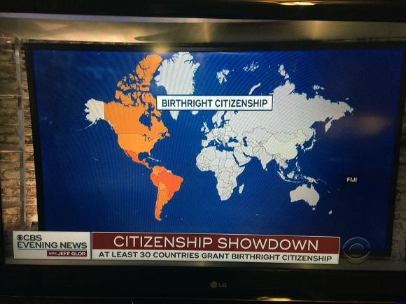 A map of the world highlighting countries with birthright citizenship